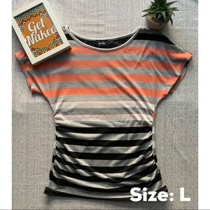 Striped short sleeve top w/ruched sides & lace